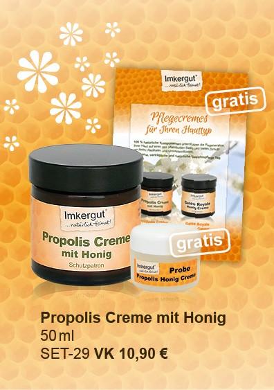 Propolis Honig Creme im 50 ml + 5ml Tiegel gratis